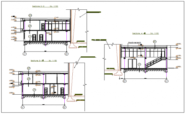 Office building stair section view detail dwg file