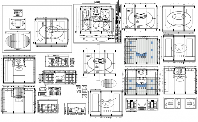 Office building structure detail plan and elevation 2d view layout file