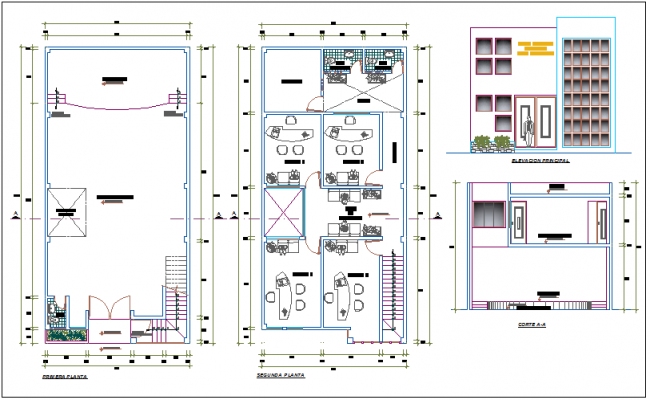 Office building view and layout dwg file