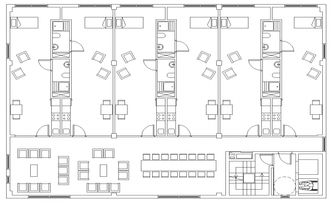 Office building with residency detail layout plan
