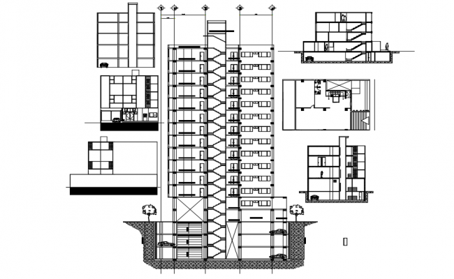 Office buildings dwg file