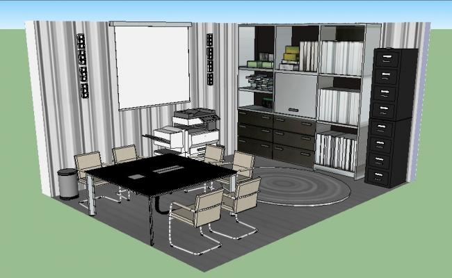 Office cabin 3d interior, plan and furniture layout cad drawing details dwg file