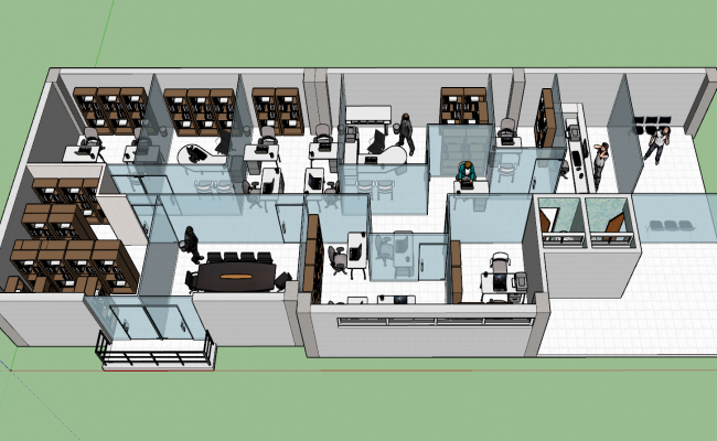 Office cabin 3d view skp file