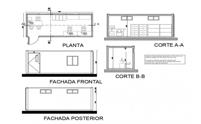 Office cabin elevation, section and plan details dwg file