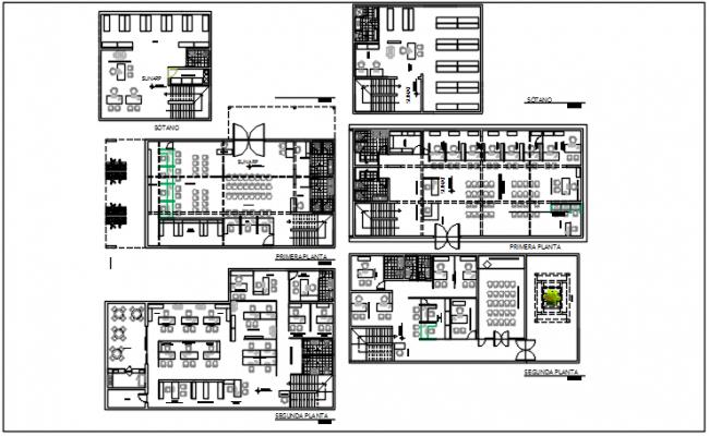 Office center line plan detail dwg file