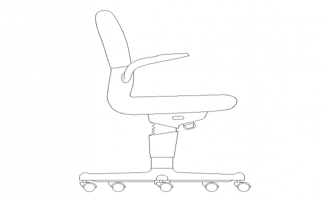 Office chair detail elevation 2d view layout CAD furniture dwg file