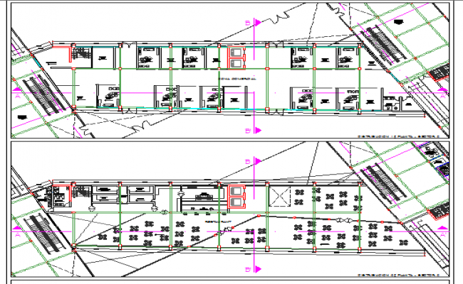 Office complex first and second floor layout plan details dwg file