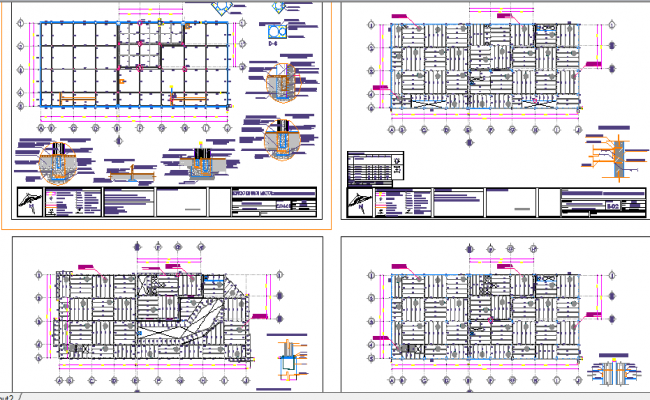 Office construction with structure details dwg file
