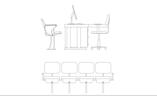 Office Desk And Chair Blocks Elevation Cad Drawing Details Dwg File
