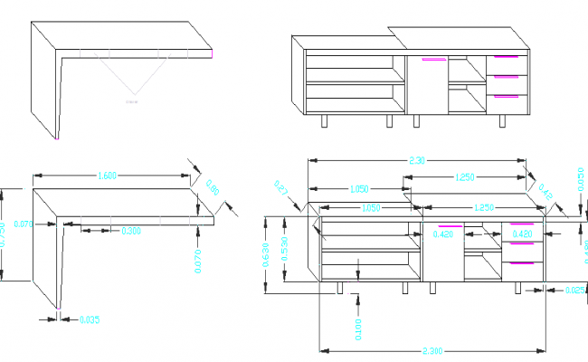 office desk architecture project dwg file