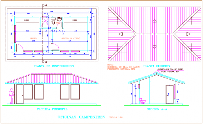 Office distribution plan and sectional view dwg file