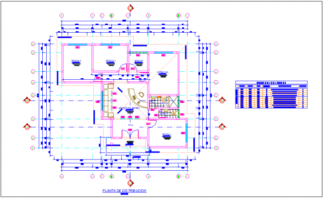 Office distribution plan with door and window detail table dwg file