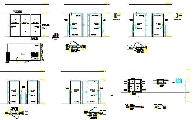 Office doors and windows installation details dwg file