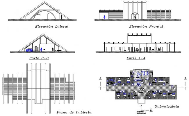Office elevation and section details in dwg file