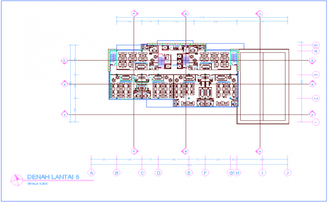 Office fifth floor plan with officer office dwg file