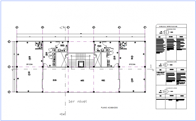 Office finishes plan of first floor dwg file