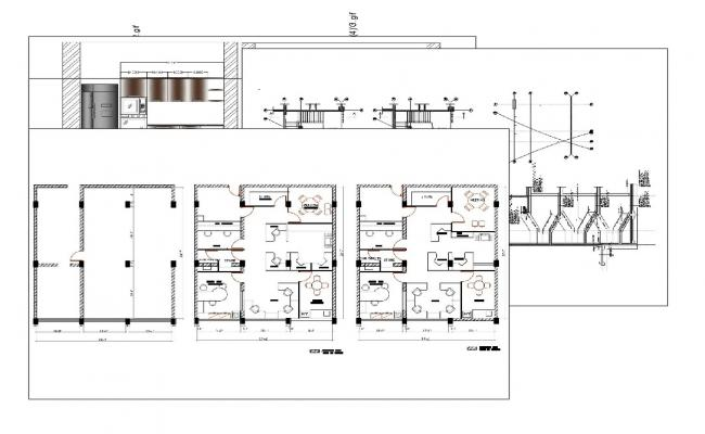 Office floor plan, cover plan, staircase construction and kitchen details dwg file