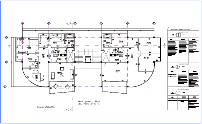 Office floor plan 2 to 7 floor with finishes plan dwg file