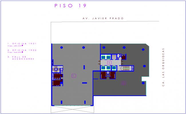 Office floor plan of nineteen number floor dwg file