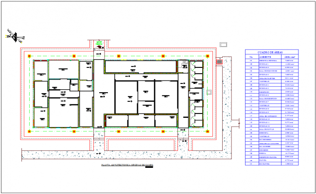 Office floor plan with area detail and table view with architectural view dwg file