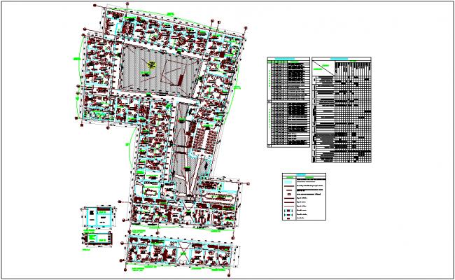 Office floor plan with door and window schedule dwg file