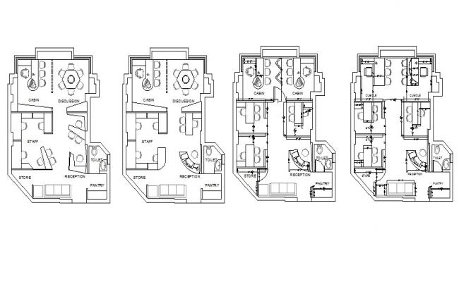 Office floors layout plan details with furniture cad drawing details dwg file