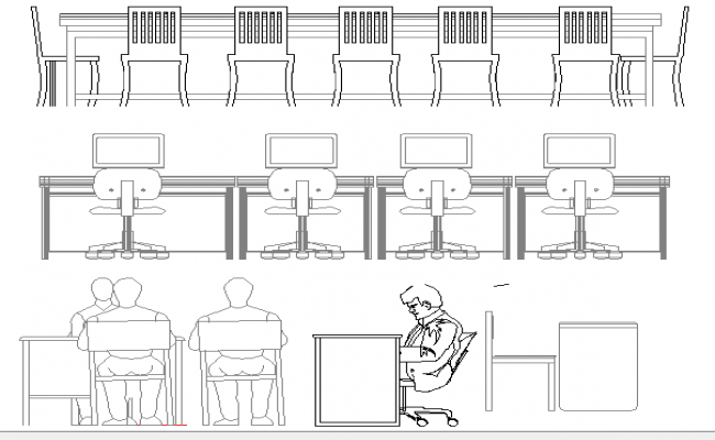 Office furniture blocks architecture details dwg file