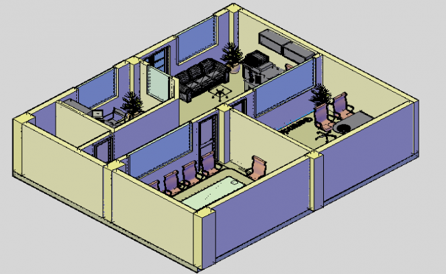 Office interior 3d view of cabin dwg file
