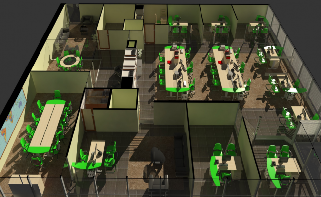 Office interior 3d view skp file