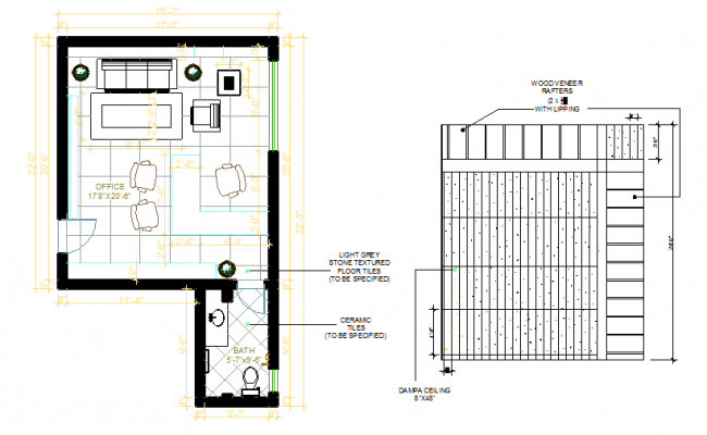 Office interior and ceiling plan  dwg foile