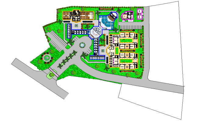 Office layout plan , landscaping design dwg file