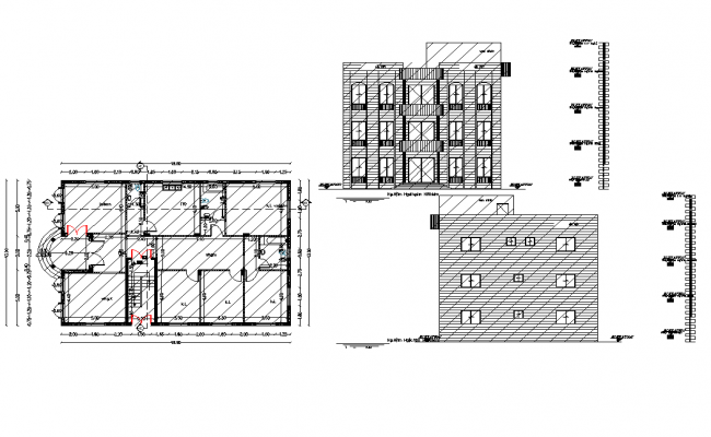 Office plan and elevation detail dwg file
