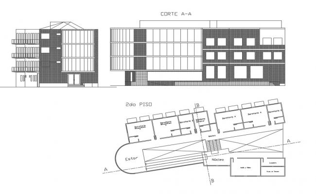 Office plan and elevation layout detail dwg file
