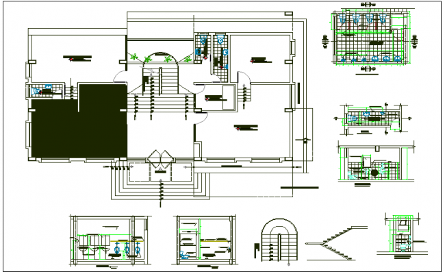 Office plan detail view dwg file