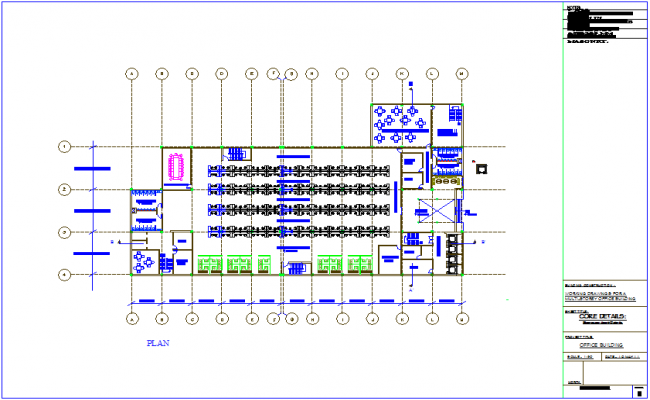 Office plan view dwg file