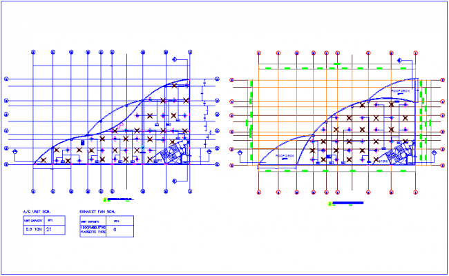 Office plan view with ground and first and second floor with Air conditioning mounting view dwg file