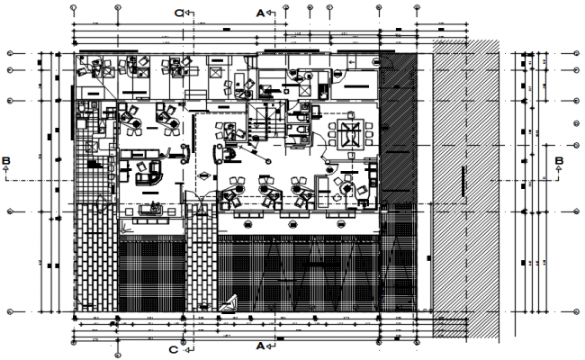 Office plan with detail dimension in AutoCAD