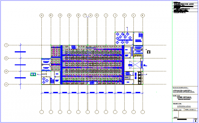 Office plan with view of air condoning line system dwg file