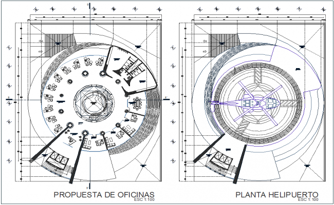 Office proposal and helicopter plan for high rise building dwg file