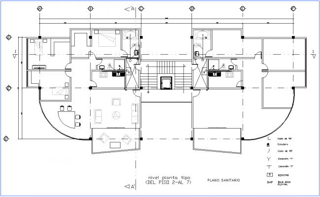 Office sanitary view with 2 to 7 floor plan with legend dwg file