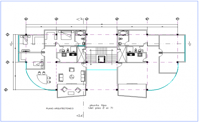 Office second to seventh floor plan architectural view dwg file