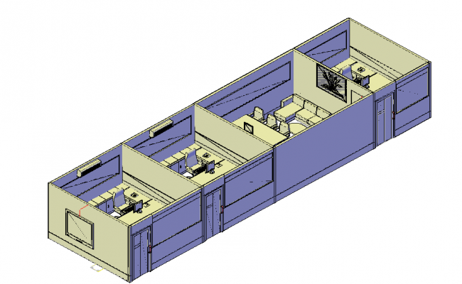 Office spacing 3d architecture model