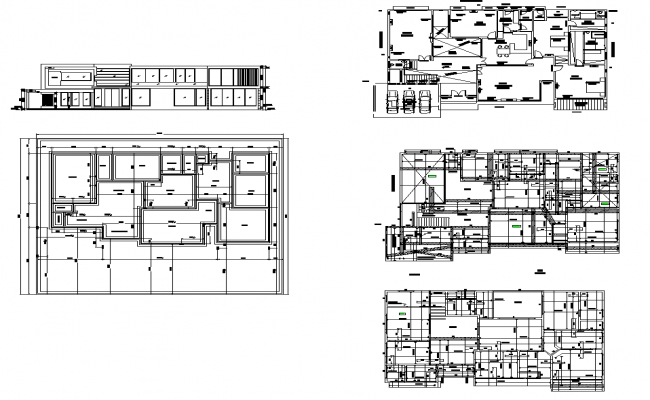 Office structural building detail elevation and section 2d view layout file