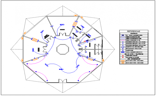 Office structure electrical plan layout detail view dwg file