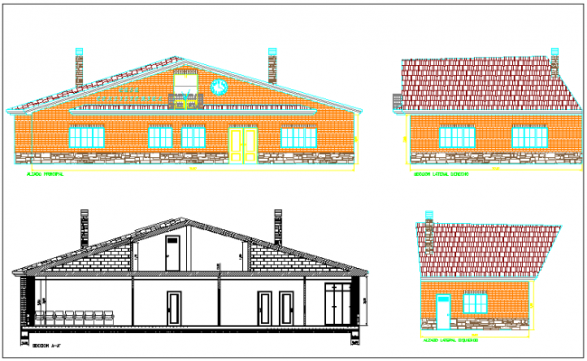 Office structure plan and elevation section view detail dwg file