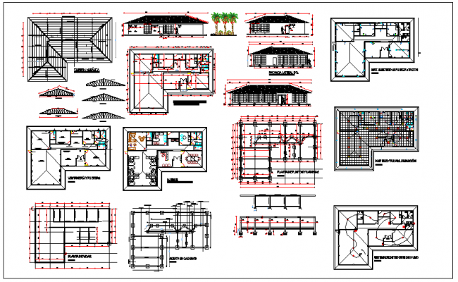 Office structure plan detail and roof structure detail dwg file
