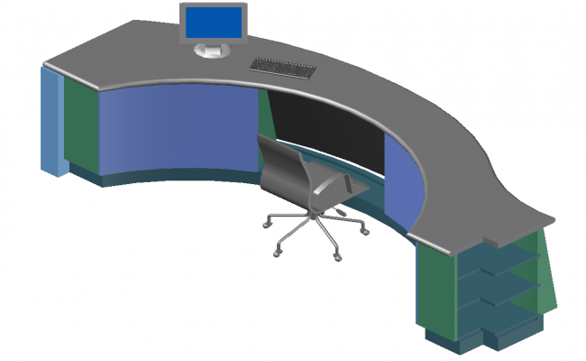 Office table detail elevation 3d model layout dwg file