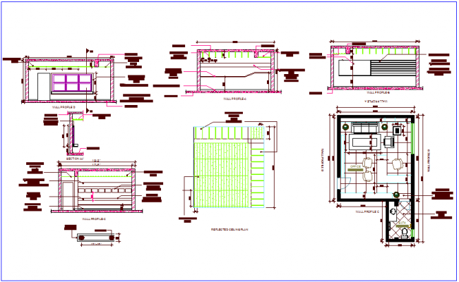 Office wall profile plan with ceiling plan dwg file
