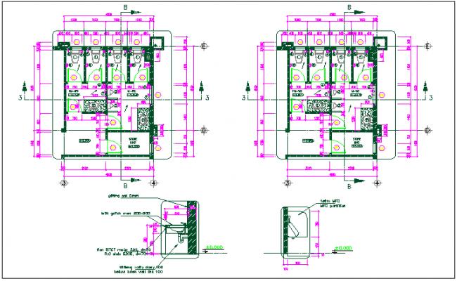 wash room plan detail view dwg file