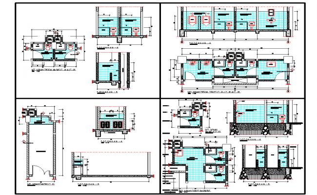 Office washroom plan detail view dwg file